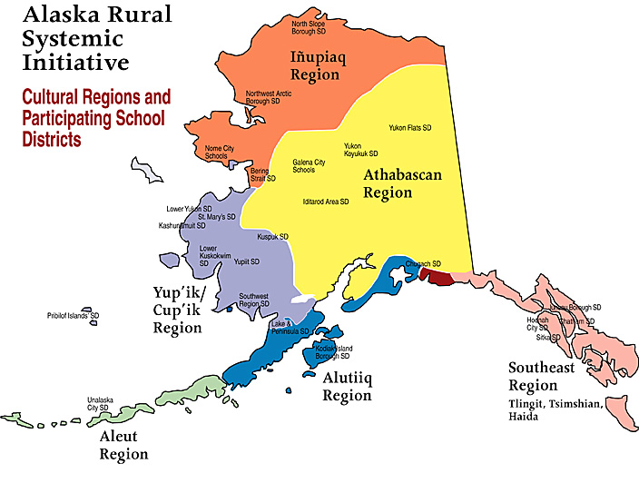 the following map illustrates the geographic spread of the various alaska native cultural groups as well as the school districts in each region that have